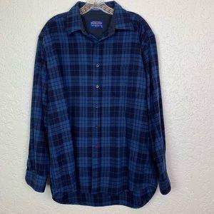 Pendleton Lodge Shirt L blue plaid virgin wool